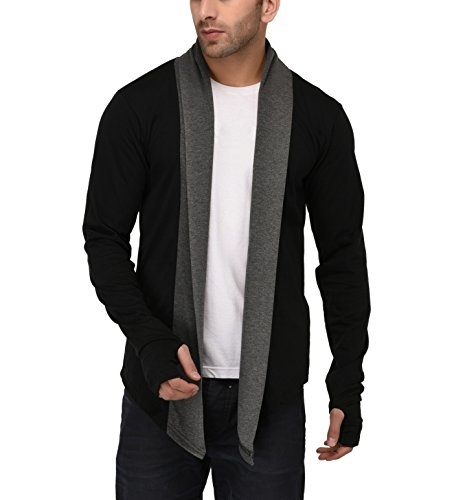 Denimholic Thumbhole Men's Open Long Cardigan Full Sleeve (Black, Large)