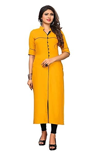 Diego Yellow Color Rayon Fabric Half Sleeve Collare Neck Solid Plain Kurti for Women