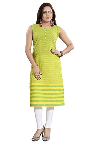 DREAM & DZIRE Women's Handloom Cotton Green Kurti for All Plus Size and Small Size (D&D_3090-GREEN-52)
