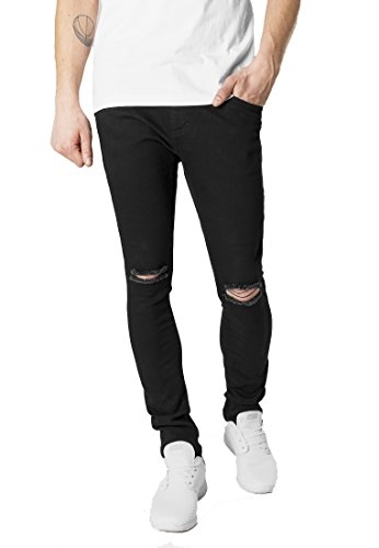 EditLook Men's Denim Lycra Knee/Slit Cut Relaxed Fit Round Pocket Distressed Damaged Jeans (Black, 32)