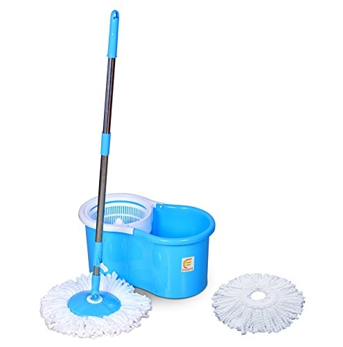 Spin Mop | Spotzero by Milton Elite Spin Mop with Bigger Wheels & Auto Fold Handle for 360 Degree Cleaning (Aqua Green, Two Refills)