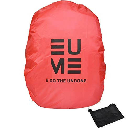 Eume Polyester 50 LTR Rain and Dust Cover with Pouch for Laptop Bag/Casual Bag (Red/Black)