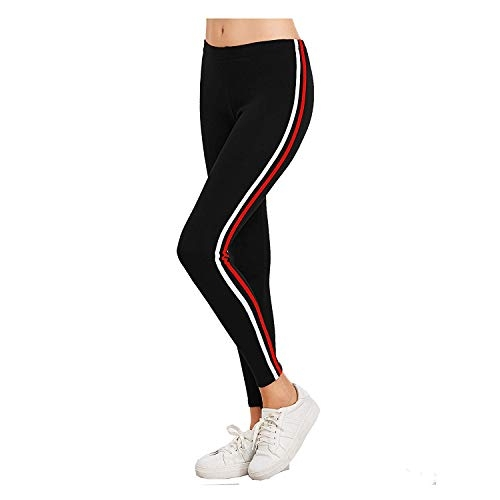FITG18 Women's Fitness Ankle Length One Line Striped High Waist Stretchable Sports Leggings (Free Size)