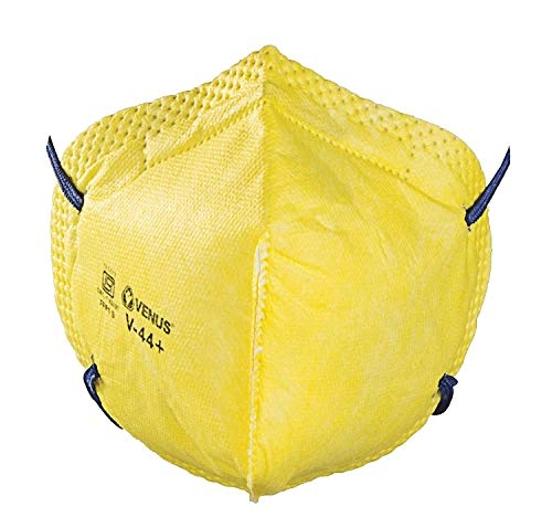 VENUS V-4400 Flat Fold Respirator with NIOSH N95 Certification which Protects against Airborne Viruses, Pack of 1 (Strap color may vary)