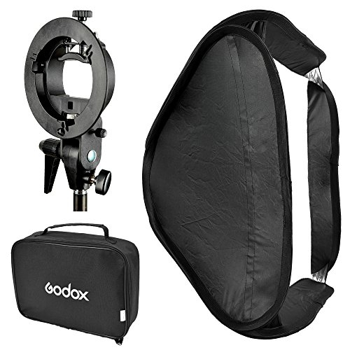 Godox SFUV6060 Portable Assembly Collapsible Diffuser Soft Box Kit with S-Type Bowens Flash Bracket for Godox Canon Nikon Sony Speedlite (Black)
