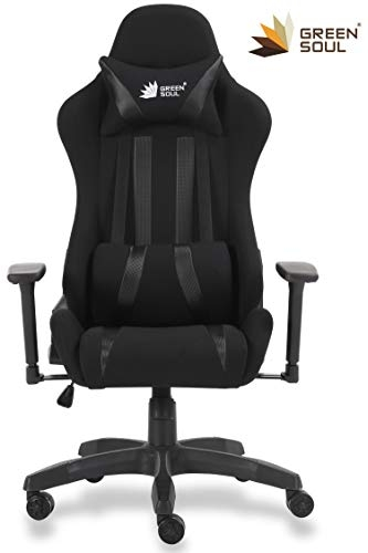 Green Soul Beast Series GS-600 Fabric and PU Leather Gaming/Ergonomic Chair (Armour Black, Medium)