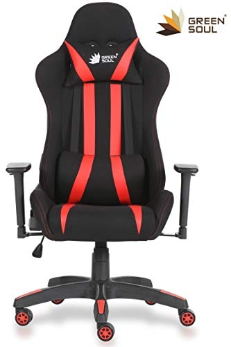 Green Soul Beast Series GS-600 Fabric and PU Leather Gaming/Ergonomic Chair (Black and Red, Medium)