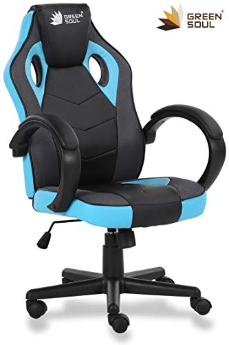 GreenSoul Monster Series Gaming/Ergonomic Chair in Fabric and PU Leather (GS-734) (Full Black) (Size- Large)