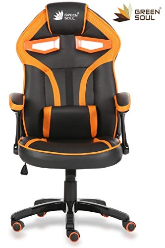 Green Soul Fabric and PU Leather Monster Series Gaming/Ergonomic Chair (Large, Full Black)