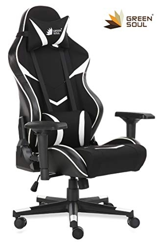 GreenSoul Monster Series Gaming/Ergonomic Chair in Fabric and PU Leather (GS-734) (Black & White) (Size- Large)