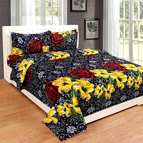 Ahmedabad Cotton 144 TC 100% Cotton Double Bedsheet with 2 Pillow Covers – Yellow and Grey