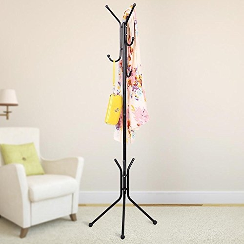 House of Quirk Wrought Iron Coat Rack Hanger Creative Fashion Bedroom for Hanging Clothes Shelves, Wrought Iron Racks Standing Coat Rack – Black