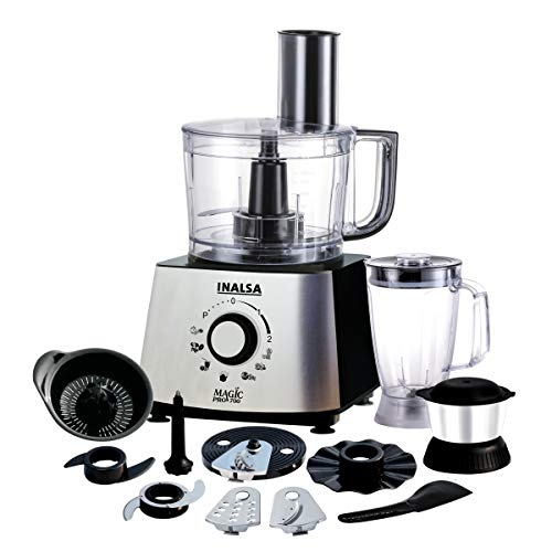 Inalsa Food Processor 1.4L Magic Pro 700-800 Watt with 2 Multipurpose Jars/ 7 Accessories, Includes Chopping & Atta Kneading Blade, Egg Whisker,(Black/Silver)