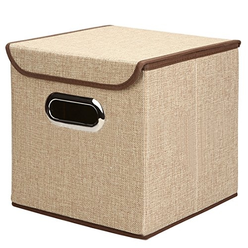 Inditradition European Pattern Foldable Storage Box With Lid ,25 X 25 X 25 Cm, Non-Woven Cotton, Brown
