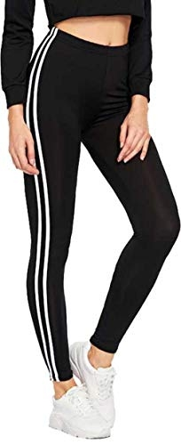 INFISPACE® Women & Girls Sporty Double Line Cropped Jegging for Yoga, Gym and Sports (10-13 Years) Black