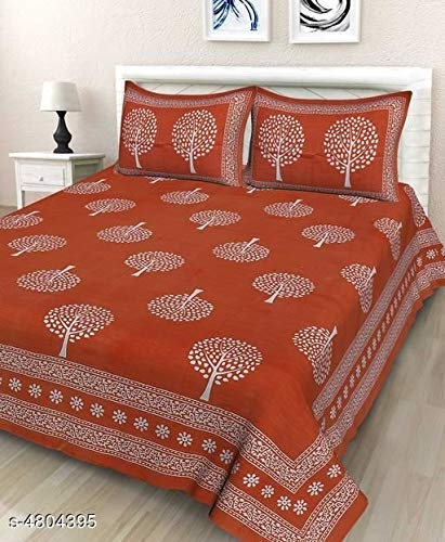 BedZone bedsheets for Double Bed Cotton Double bedsheets with 2 Pillow Covers [ Queen]