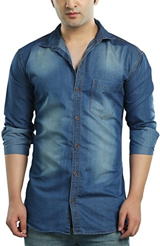 Kandy Men's Casual Shirt (SHIRT-CL-DENIM-L-S–M, Blue, Medium)