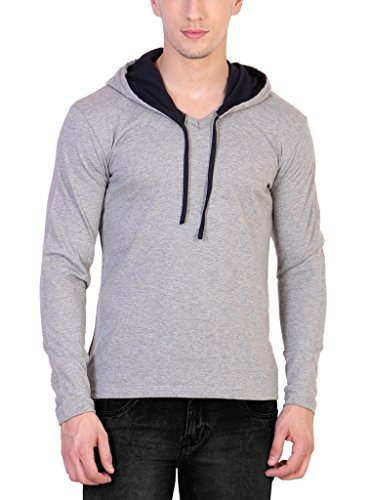 Katso Men's Cotton Hoodie (Grey Black, Small)