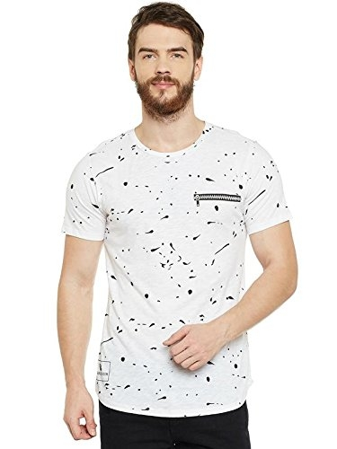 LE BOURGEOIS Paint Splatter White Crew Neck T-Shirt