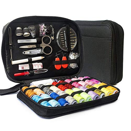 LifeMaster Travel Sewing Repair KIT, Set w/Over 100 Supplies & 24-Color Threads & Needles | Compact, Portable Mini Mending Button Sew Kits – Sowing Accessories Easy to Use for Adults & Beginners