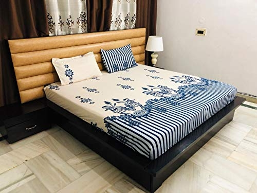 Ab Home Decor Elastic Fitted Cotton Bedsheets (King Size, Multicolour)