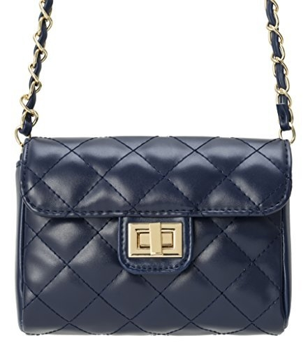 M&c Women's  Small Quilted PU Leather Handbag (Black Sheen)