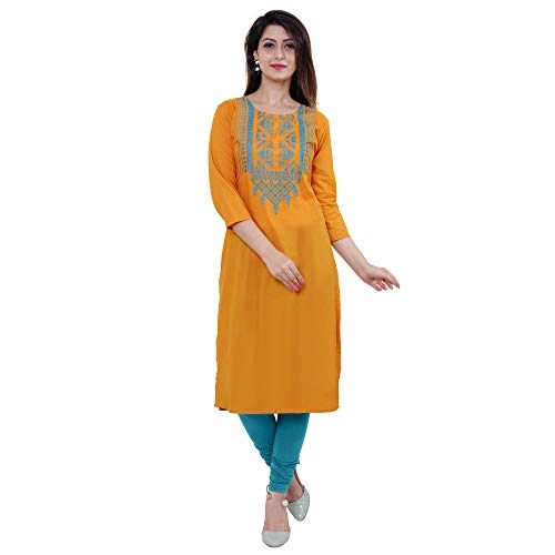 M&D 3/4 Sleeve Beautiful Embroidered Pure Cotton Knee long kurti for women(Mustard), Large