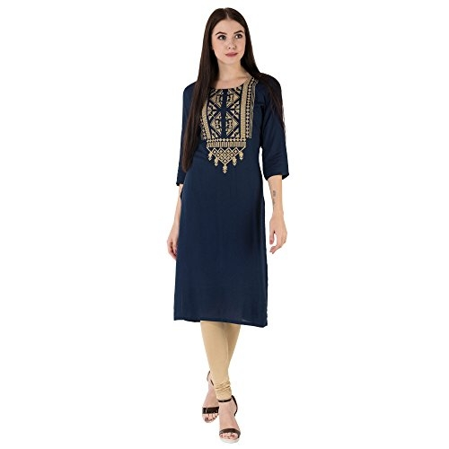 M&D Beautiful Embroidered Exclusive Casual Cotton Women's Kurti???'ËœStraight (Dark Blue, X-Large)