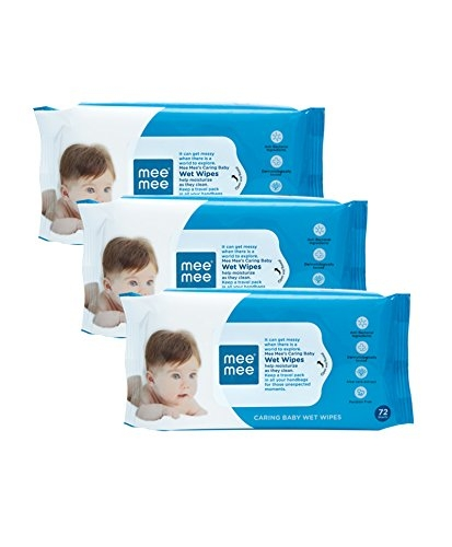 Mee Mee Caring Baby Wet Wipes with Aloe Vera (72 pcs/pack) (Pack of 3)