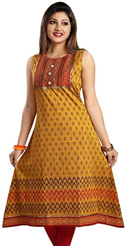 ADA Women's Faux Georgette Fancy Handmade Work Kurti(A95504_Yellow_Small)