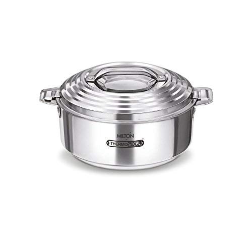 Milton Clarion Jr Stainless Steel Gift Set Casserole with Glass Lid, Set of 3,Steelplain