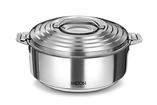 Milton Galaxia Stainless Steel Casserole,4.6  Litres, Silver