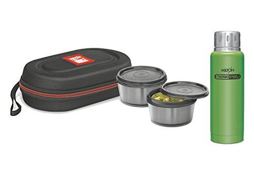 Milton Green Elfin Thermosteel Insulated Steel Bottle 300 ml with Black Nutri Lunch 2 Container Tiffin Combo