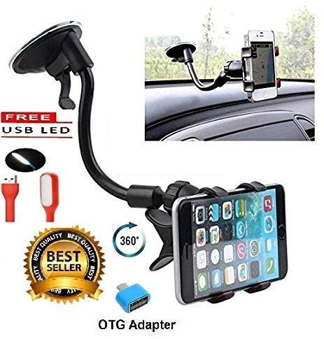 car mobile holder 360 – Mobias Retails, Universal Soft Tube Car Mobile Holder with Suction Cup | Clamp Car Mount | 6 Inches Long Arm | 360 Degree – Black
