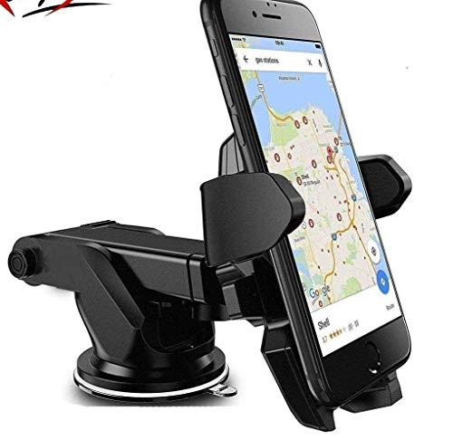 car holders for mobile phone – Mobilegabbar Adjustable Mobile Holder / Mobile Stand / Car Stand With Quick One Touch Technology For Mobiles Phones (Black )