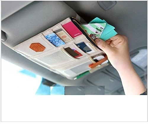 car mobile holder bag – MOHAK Car Sun Visor Storage Point Pocket Documents Organizer, Mobile Holder, Tablet Holder, Credit Card & Visiting Card Holder Bag