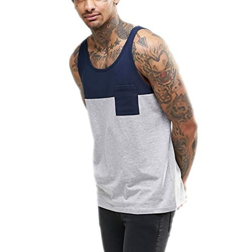 Cotton Mens Gym Vest Two Tone Gym Stringer Tank Sports Vest Bodybuilding Vest