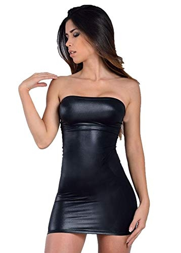 MPitude Women's Clubwear Faux Leather Look Liquid Black Strapless Mini Tube Dress Fitted Spandex Lycra Bodycon Faux Leather Nightclub Dress