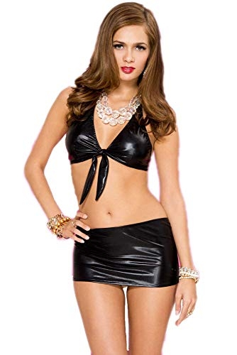 Mpitude Women's Fantasy Costume Faux Leather Babydoll Set Sexy Front Knot Bra with Mini Skirt Knot Blouse Skirt Set Pole Dance Costume
