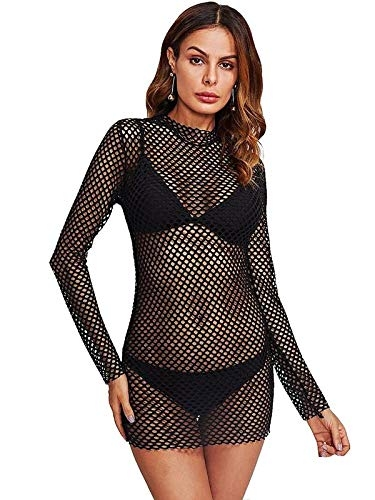 Mpitude Women's Sexy Sheer Beach – Mpitude Women's Sexy Sheer Beach Cover Up Long Sleeve Mesh Blouse Lingerie Transparent Babydoll Net Baby Doll Dress See Through Dress Honeymoon Beachwear See Through Blouse for Woman Beach Cover Up