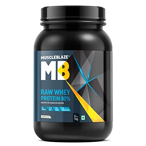 MuscleBlaze 100% Whey Energy Protein Supplement Powder with Vitamins & Minerals (Chocolate, 1 kg / 2.2 lb, 31 Servings)