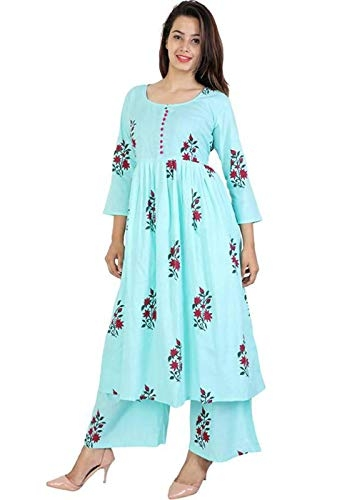 Amayra Women's Cotton Straight Kurti With Palazzos(Peach,Small)