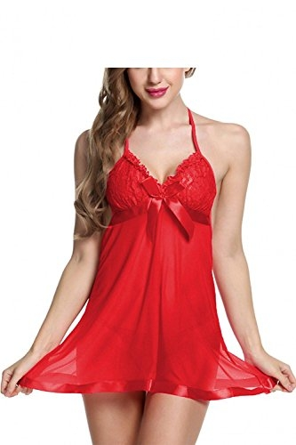 new blue eyes Red Baby Doll Dress Nightwear with G String for Honeymoon