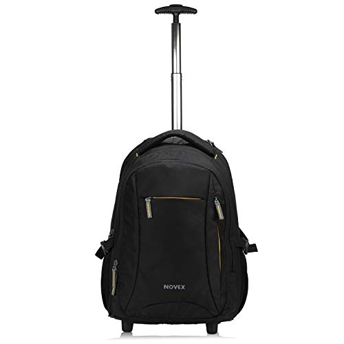 CARRY TRIP Unisex Business Executive Roller Polyester Travel Briefcase 4 Wheel Trolley Case, Black
