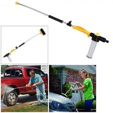 P YU Water Zoom Jet Power Pressure Washer Lance Garden Hose Attachment with Soap Dispenser and Brush – Ideal for Washing Cars, Cleaning Decking, Paths, Driveways, Fences etc