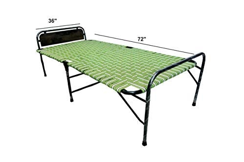 Klassic Single Size Folding Bed | Iron Folding Bed | Wood Folding Bed for Household Purpose (6Ft. X 3Ft.)
