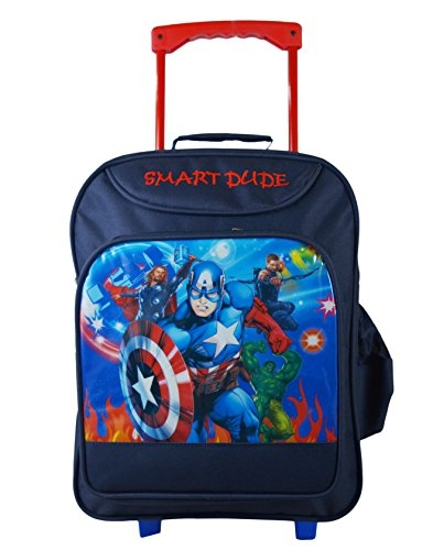 Bags Bazar Cartoon Printed Children's Rolling Luggage Trolley Wheels Soft-Sided Polyester Backpack for School Kids, Girls and Boys (Medium_18x13x7inch_Cyan Blue)