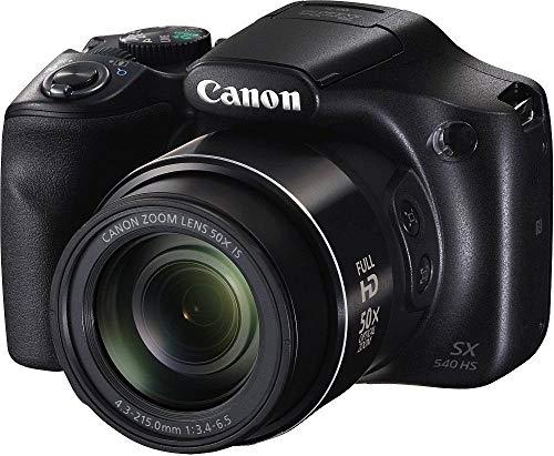 (Renewed) Canon PowerShot SX540HS 20.3MP Digital Camera with 50x Optical Zoom (Black) + Memory Card + Camera Case