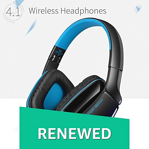 (Renewed) Kotion Each B3506 Wireless Bluetooth Headphone with Mic (Black/Blue)