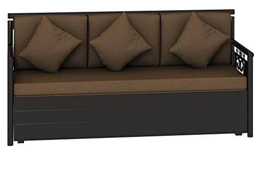 Bharat Lifestyle Wooden Leo Fabric 3-Seater Sofa Cum Bed (Black and Grey)